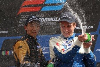World © Octane Photographic Ltd. British Formula 3 – Brands Hatch. Saturday 10th August 2013 – Race 1 National class podium. Digital Ref : 0777lw7d1209
