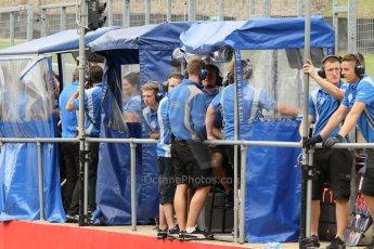 World © Octane Photographic Ltd. British Formula 3 – Brands Hatch. Saturday 11th August 2013 – Race 2. Carlin team on the pitwall – Dallara F312 Volkswagen. Digital Ref :