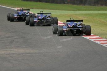 World © Octane Photographic Ltd. British Formula 3 – Brands Hatch. Saturday 11th August 2013 – Race 2. Team West-Tec in formation– Dallara F312/308 Toyota. Digital Ref :