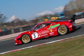 World © Octane Photographic Ltd./Chris Enion. Avon Tyres British GT Championship - Saturday 30th March 2013 Oulton Park – Practice 1. Ferrari 458 Italia – Rosso Verde – Hector Lester, Allan Simonsen. Digital Ref : 0604ce1d4511