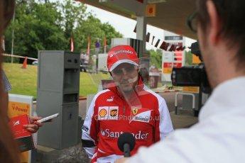World © Octane Photographic Ltd. GP2 British GP, Silverstone, Thursday 27th June 2013. Felipe Massa - Scuderia Ferrari - Shell Towcester Pit Stop. Digital Ref : 0723lw1d2397