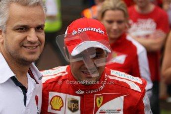 World © Octane Photographic Ltd. GP2 British GP, Silverstone, Thursday 27th June 2013. Felipe Massa - Scuderia Ferrari - Shell Towcester Pit Stop. Digital Ref : 0723lw1d9784
