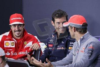 World © Octane Photographic Ltd. F1 British GP - Silverstone, Thursday 27th June 2013. Vodafone McLaren Mercedes - Jenson Button, Infiniti Red Bull Racing - Mark Webber and Scuderia Ferrari - Fernando Alonso. Digital Ref : 0723lw1d9858