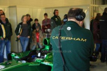 World © Octane Photographic Ltd./Carl Jones. Caterham F1 Team with Alexander Rossi demos at Silverstone, 20th October 2013. Digital Ref : 0845cj7d0013