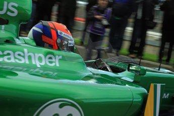 World © Octane Photographic Ltd./Carl Jones. Caterham F1 Team with Alexander Rossi demos at Silverstone, 20th October 2013. Digital Ref : 0845cj7d0047
