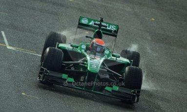 World © Octane Photographic Ltd./Carl Jones. Caterham F1 Team with Alexander Rossi demos at Silverstone, 20th October 2013. Digital Ref : 0845cj7d0101