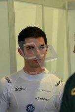 World © Octane Photographic Ltd./Carl Jones. Caterham F1 Team with Alexander Rossi demos at Silverstone, 19th October 2013. Digital Ref : 0845cj7d0019