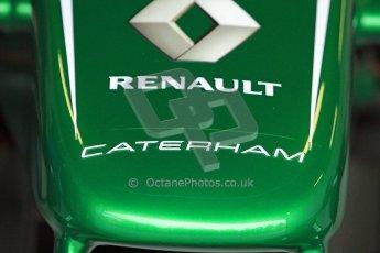 World © Octane Photographic Ltd./Carl Jones. Caterham F1 Team with Alexander Rossi demos at Silverstone, 19th October 2013. Digital Ref : 0845cj7d0025