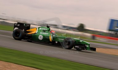 World © Octane Photographic Ltd./Carl Jones. Caterham F1 Team with Alexander Rossi demos at Silverstone, 19th October 2013. Digital Ref : 0845cj7d0046