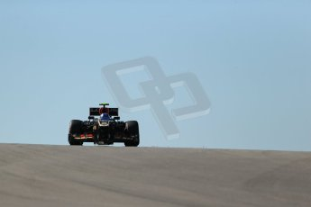 World © Octane Photographic Ltd. F1 USA GP, Austin, Texas, Circuit of the Americas (COTA), Friday 15th November 2013 - Practice 2. Lotus F1 Team E21 - Romain Grosjean. Digital Ref : 0854lw1d3692
