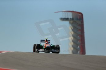 World © Octane Photographic Ltd. F1 USA GP, Austin, Texas, Circuit of the Americas (COTA), Friday 15th November 2013 - Practice 2. Sahara Force India VJM06 - Adrian Sutil. Digital Ref : 0854lw1d3913