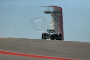 World © Octane Photographic Ltd. F1 USA GP, Austin, Texas, Circuit of the Americas (COTA), Friday 15th November 2013 - Practice 2. Mercedes AMG Petronas F1 W04 – Lewis Hamilton. Digital Ref : 0854lw1d4036
