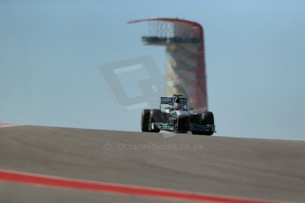 World © Octane Photographic Ltd. F1 USA GP, Austin, Texas, Circuit of the Americas (COTA), Friday 15th November 2013 - Practice 2. Mercedes AMG Petronas F1 W04 – Lewis Hamilton. Digital Ref : 0854lw1d4037