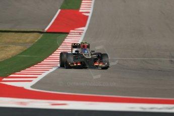 World © Octane Photographic Ltd. F1 USA GP, Austin, Texas, Circuit of the Americas (COTA), Friday 15th November 2013 - Practice 2. Lotus F1 Team E21 - Romain Grosjean. Digital Ref : 0854lw1d4208