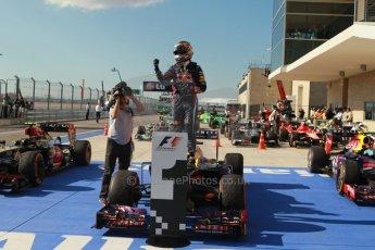 World © Octane Photographic Ltd. F1 USA GP, Austin, Texas, Circuit of the Americas (COTA), Sunday 17th November 2013 – Post-Race Parc Ferme. Infiniti Red Bull Racing - Sebastian Vettel. Digital Ref : 0862lw1d2946