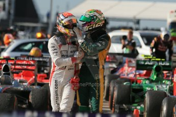 World © Octane Photographic Ltd. F1 USA GP, Austin, Texas, Circuit of the Americas (COTA), Sunday 17th November 2013 - Post-Race Parc Ferme. Caterham F1 Team - Giedo van der Garde and Marussia F1 Team - Jules Bianchi. Digital Ref : 0862lw1d6212