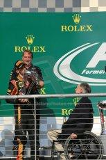 World © Octane Photographic Ltd. F1 USA GP, Austin, Texas, Circuit of the Americas (COTA), Sunday 17th November 2013 - Podium. Lotus F1 Team - Romain Grosjean. Digital Ref : 0862lw1d6365