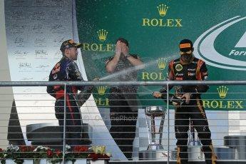 World © Octane Photographic Ltd. F1 USA GP, Austin, Texas, Circuit of the Americas (COTA), Sunday 17th November 2013 - Podium. Infiniti Red Bull Racing - Sebastian Vettel (1st) and Lotus F1 Team - Romain Grosjean (2nd). Digital Ref : 0862lw1d6417