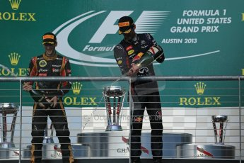 World © Octane Photographic Ltd. F1 USA GP, Austin, Texas, Circuit of the Americas (COTA), Sunday 17th November 2013 - Podium. Lotus F1 Team - Romain Grosjean (2nd) and Infiniti Red Bull Racing - Mark Webber (3rd). Digital Ref : 0862lw1d6427