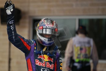 World © Octane Photographic Ltd. F1 USA GP, Austin, Texas, Circuit of the Americas (COTA), Saturday 16th November 2013 - Qualifying Parc Ferme. Infiniti Red Bull Racing RB9 - Sebastian Vettel. Digital Ref : 0858lw1d2195