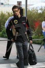 World © Octane Photographic Ltd. F1 USA GP, Austin, Texas, Circuit of the Americas (COTA), Sunday 17th November 2013 - Paddock. Lotus F1 Team - Romain Grosjean. Digital Ref : 0859lw1d5624