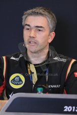 World © Octane Photographic Ltd. F1 USA GP, Austin, Texas, Circuit of the Americas (COTA), Friday 15th November 2013 – FIA Press conference. Nick Chester – Technical Director Lotus F1 Team. Digital Ref : 0855lw1d4489