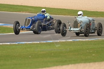 World © Octane Photographic Ltd. Donington Historic Festival, Friday 3rd May 2013. HGPCA Nuvolari Trophy pre-1940 GP cars with Hall and Hall. Maserati 8CM - Robert Newall and Bugatti T39 - David Hands. Digital Ref : 0645cb7d0002