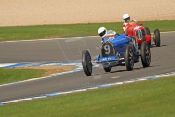 World © Octane Photographic Ltd. Donington Historic Festival, Friday 3rd May 2013. HGPCA Nuvolari Trophy pre-1940 GP cars with Hall and Hall. Bugatti T35B - Charles Knill-Jones and Maserati 6CM/4CM - Frederico Buratti. Digital Ref : 0645cb7d0009
