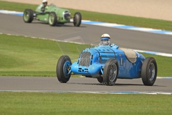 World © Octane Photographic Ltd. Donington Historic Festival, Friday 3rd May 2013. HGPCA Nuvolari Trophy pre-1940 GP cars with Hall and Hall. Talbot T26SS - Richard Pilkington and Alta - Paul Jaye. Digital Ref : 0645cb7d0014