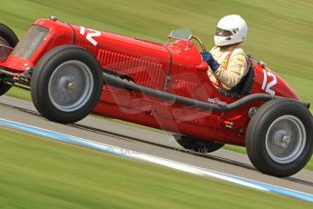 World © Octane Photographic Ltd. Donington Historic Festival, Friday 3rd May 2013. HGPCA Nuvolari Trophy pre-1940 GP cars with Hall and Hall. Maserati 8CM - Sean Danaher. Digital Ref : 0645cb7d0054
