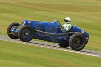 World © Octane Photographic Ltd. Donington Historic Festival, Friday 3rd May 2013. HGPCA Nuvolari Trophy pre-1940 GP cars with Hall and Hall. Maserati 8CM - Robert Newall. Digital Ref : 0645cb7d8232