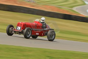 World © Octane Photographic Ltd. Donington Historic Festival, Friday 3rd May 2013. HGPCA Nuvolari Trophy pre-1940 GP cars with Hall and Hall. ERA AJM1 - Bed Fidler. Digital Ref : 0645cb7d8244