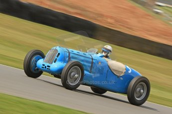 World © Octane Photographic Ltd. Donington Historic Festival, Friday 3rd May 2013. HGPCA Nuvolari Trophy pre-1940 GP cars with Hall and Hall. 1937 Talbot T26SS - Richard Pilkington. Digital Ref : 0645cb7d8299