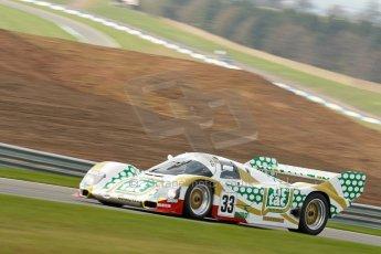 """World © Octane Photographic Ltd/Chris Enion. Donington Park General un-silenced test 25th April 2013. Henrik Linberg - Porsche 962C Dauer Racing """"Tic Tac"""" - Group C (Gp.C) Racing. Digital Ref : 0641ce1d2589"""