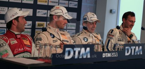 World © Octane Photographic Ltd. German Touring Cars (DTM) Brands Hatch Saturday 18th May 2013. Qualifying press conference. . BMW Team RMG – BMW M3 DTM – Martin Tomczyk, Phoenix Racing – Audi RS5 DTM – Mike Rockenfeller, BMW Team RBM – BMW M3 DTM – Augusto Farfus and HWA Team – DTM AMG Mercedes C-Coupe – Gary Paffett. Digital Ref: 0684cb1d5673