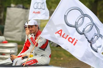 World © Octane Photographic Ltd. German Touring Cars (DTM) Brands Hatch Sunday 19th May 2013. Drivers' Parade. Team Rosberg – Audi RS5 DTM – Edoardo Mortara and Filipe Albuquerque. Digital Ref: