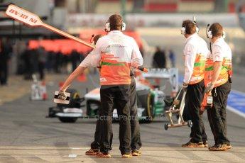 World © Octane Photographic Ltd. Formula 1 Winter testing, Barcelona – Circuit de Catalunya, 19th February 2013. Sahara Force India VJM06 – Paul di Resta pulls into the pits. Digital Ref: 0576cb7d8094