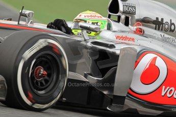 World © Octane Photographic Ltd. Formula 1 Winter testing, Barcelona – Circuit de Catalunya, 19th February 2013. Vodafone McLaren Mercedes MP4/28. Sergio Perez. Digital Ref: 0576cb7d8418