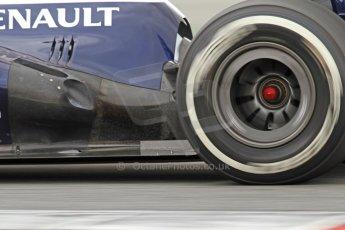 World © Octane Photographic Ltd. Formula 1 Winter testing, Barcelona – Circuit de Catalunya, 19th February 2013. Williams FW35 including their controversial exhaust flow conditioner, Pastor Maldonado. Digital Ref: 0576cb7d8430