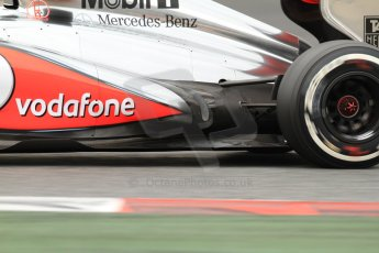World © Octane Photographic Ltd. Formula 1 Winter testing, Barcelona – Circuit de Catalunya, 19th February 2013. Vodafone McLaren Mercedes MP4/28 exhaust detail. Sergio Perez. Digital Ref: 0576cb7d8454