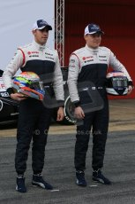 World © Octane Photographic Ltd. Formula 1 Winter testing, Barcelona – Circuit de Catalunya, 19th February 2013. Williams FW35 launch, Pastor Maldonado and Valterri Bottas. Digital Ref: 0576lw1d1014