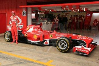 World © Octane Photographic Ltd. Formula 1 Winter testing, Barcelona – Circuit de Catalunya, 19th February 2013. Ferrari F138 – Fernando Alonso unveils the team's new UPS sponsorship. Digital Ref: 0576lw1d1132