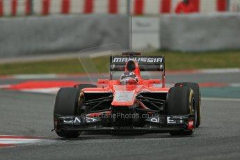 World © Octane Photographic Ltd. Formula 1 Winter testing, Barcelona – Circuit de Catalunya, 19th February 2013. Marussia MR02, Max Chilton. Digital Ref: 0576lw1d1779
