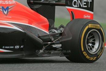 World © Octane Photographic Ltd. Formula 1 Winter testing, Barcelona – Circuit de Catalunya, 19th February 2013. Marussia MR02, Max Chilton exhaust detail. Digital Ref: 0576lw1d1829