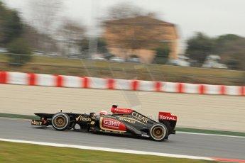 World © Octane Photographic Ltd. Formula 1 Winter testing, Barcelona – Circuit de Catalunya, 21st February 2013. Lotus E31, Romain Grosjean. Digital Ref: 0578cb7d9054