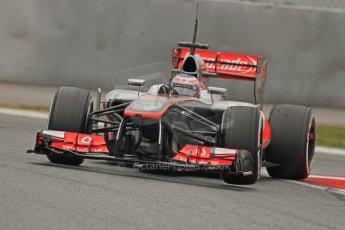 World © Octane Photographic Ltd. Formula 1 Winter testing, Barcelona – Circuit de Catalunya, 21st February 2013. Vodafone McLaren Mercedes MP4/28, Jenson Button. Digital Ref: 0578cb7d9114