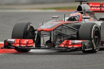 World © Octane Photographic Ltd. Formula 1 Winter testing, Barcelona – Circuit de Catalunya, 22nd February 2013. Vodafone McLaren Mercedes MP4/28. Jenson Button. Digital Ref: 0579cb7d9620