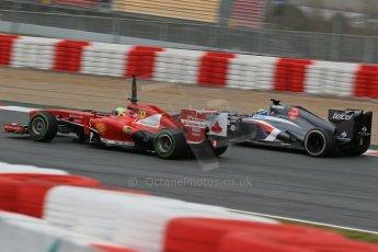 World © Octane Photographic Ltd. Formula 1 Winter testing, Barcelona – Circuit de Catalunya, 22nd February 2013. Ferrari F138 – Felipe Massa and Sauber C32, Esteban Gutierrez. Digital Ref: 0579lw1d4640