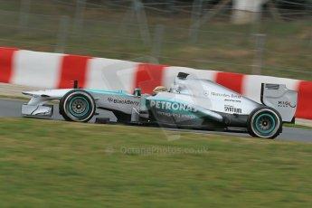 World © Octane Photographic Ltd. Formula 1 Winter testing, Barcelona – Circuit de Catalunya, 22nd February 2013. Mercedes AMG Petronas F1 W04, Lewis Hamilton. Digital Ref: 0579lw1d4643