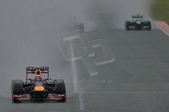 World © Octane Photographic Ltd. Formula 1 Winter testing, Barcelona – Circuit de Catalunya, 22nd February 2013. Infiniti Red Bull Racing RB9-Mark Webber, Toro Rosso STR8-Jean-Eric Vergne and Caterham CT03-Giedo van de Garde. Digital Ref: 0579lw1d5188